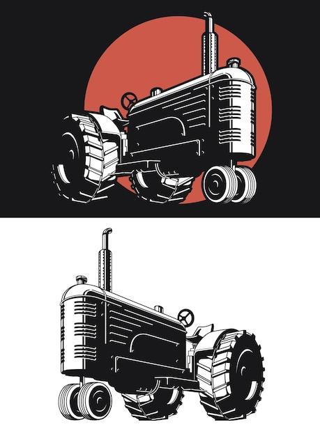 Sagoma trattore agricolo vintage isolato Vettore Premium