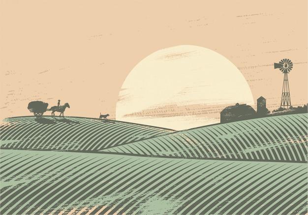 Sagoma di contadino in campo al tramonto Vettore Premium
