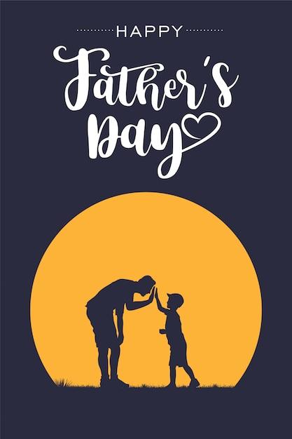 Siluetta del padre e del figlio che danno il cinque con la festa del papà felice del testo, vettore Vettore Premium