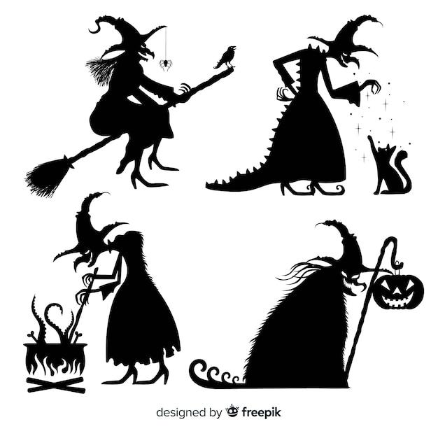 Collezione silhouette strega halloween Vettore Premium
