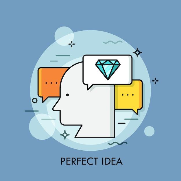 Sagoma della testa umana circondata da fumetti e diamanti. concetto di perfetta generazione di idee, mente brillante. Vettore Premium