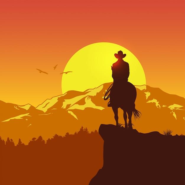 Silhouette di solitario cowboy a cavallo al tramonto, illustrazione vettoriale Vettore Premium