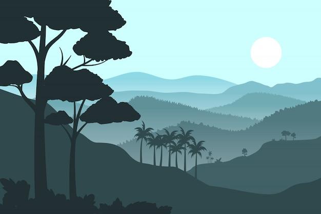 Silhouette montagne sullo sfondo Vettore Premium