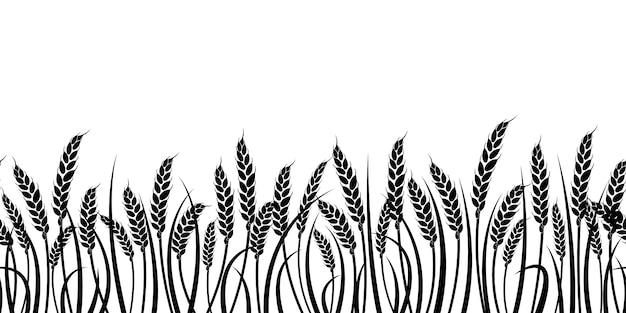 Sagoma di grano. silhouette. frumento nel campo su uno sfondo bianco. Vettore Premium