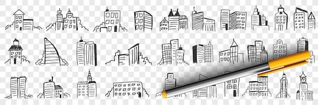 Sagome di grattacieli della città doodle insieme Vettore Premium