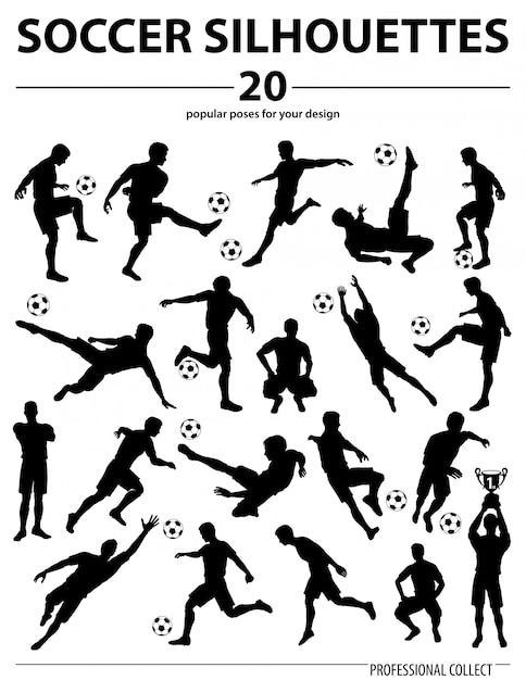 Silhouettes giocatori di calcio Vettore Premium