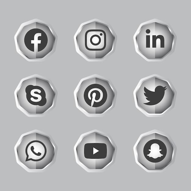 Argento nero e bianco solido lucido 3d social media pulsante gradiente impostato con l'icona rotonda del logo dei social media Vettore Premium