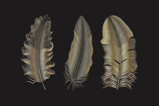 Piume glitter argento e oro. elementi in stile boho, modello di tatuaggio. Vettore Premium