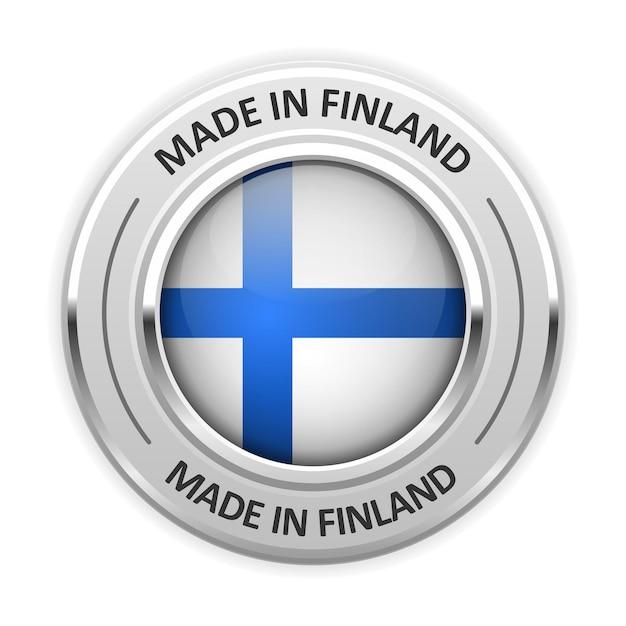 Medaglia d'argento realizzata in finlandia con bandiera Vettore Premium