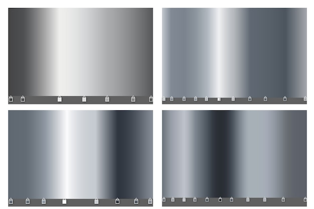 Grande set di lusso in metallo argento di semplice gradiente. materiale lamina liscia metallizzata argento. Vettore Premium