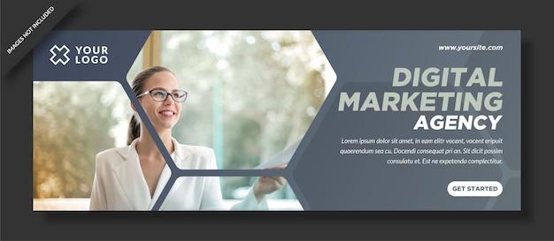 Design semplice dell'agenzia di copertina di facebook per il marketing digitale Vettore Premium