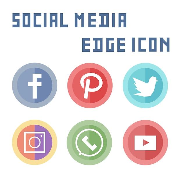 Elemento semplice icona social media piatta Vettore Premium