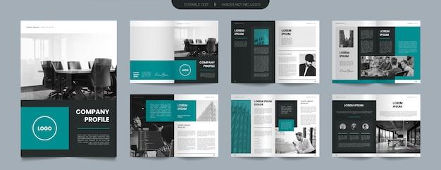 Design semplice brochure profilo aziendale verde Vettore Premium