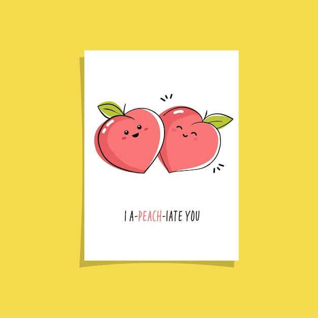 Illustrazione semplice con frutta e frase divertente: ti amo. card design preconfezionato con simpatico disegno di pesche sorridenti Vettore Premium