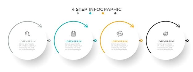 Modello semplice infografica con cerchi e frecce Vettore Premium