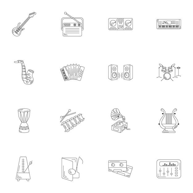 Linea semplice set di icone di strumenti musicali. Vettore Premium