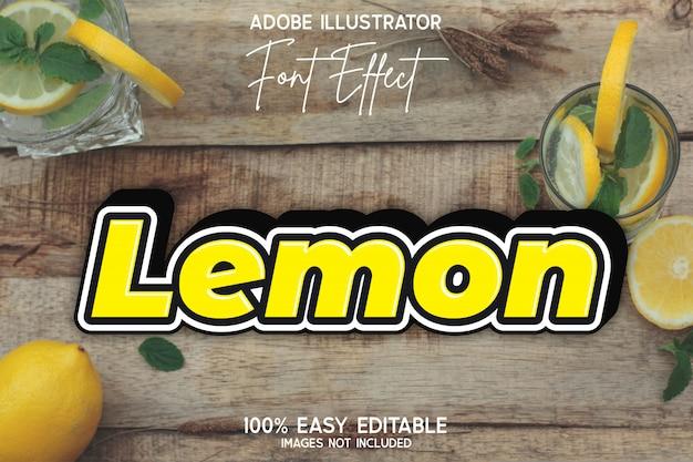 Effetto carattere modificabile semplice giallo grassetto moderno limone Vettore Premium