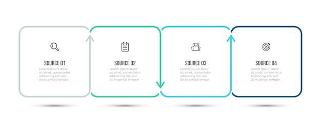 Disegno vettoriale semplice per infografica aziendale. timeline con 4 passaggi o opzioni. . Vettore Premium