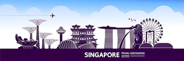 Grande illustrazione della destinazione di viaggio di singapore. Vettore Premium