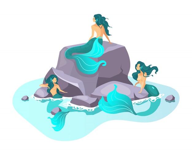 Illustrazione piatta sirene fata creatura in mare. fantastica bestia mezza donna. mostri incantevoli. mitologia greca. sirene su scogliera isolato personaggio dei cartoni animati su sfondo bianco Vettore Premium