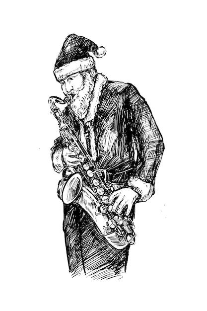 Skatch di santa suona il sassofono a mano Vettore Premium