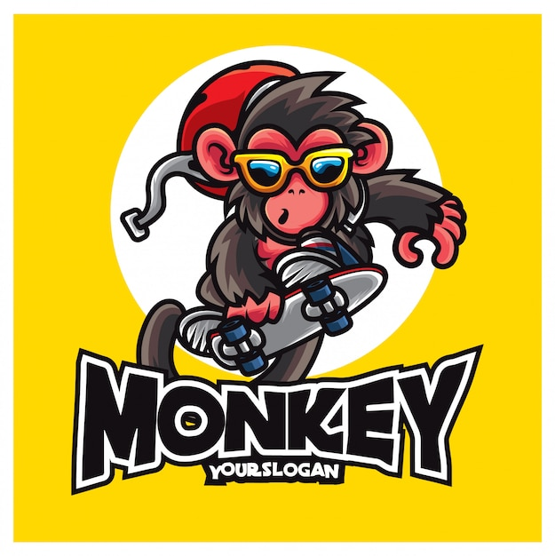 Mascotte logo scimmia skate Vettore Premium