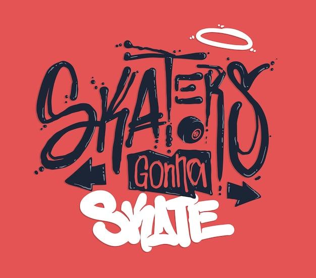 Design di stampa t-shirt da skate Vettore Premium