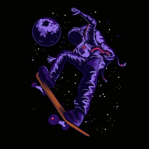 Astronauta di skatebord nell'illustrazione dello spazio Vettore Premium