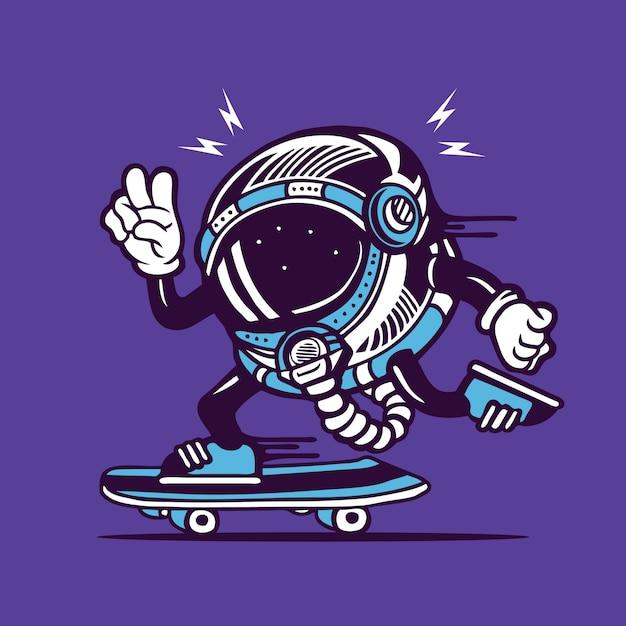 Skater astronaut cosmonaut helmet skateboarding character design Vettore Premium