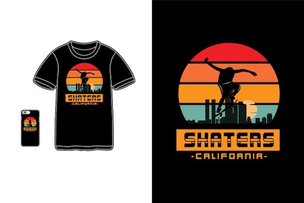 Sagoma di merchandise di t-shirt california di pattinatori Vettore Premium