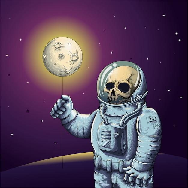 Scheletro in tuta da astronauta che tiene la luna con lo spazio sullo sfondo Vettore Premium