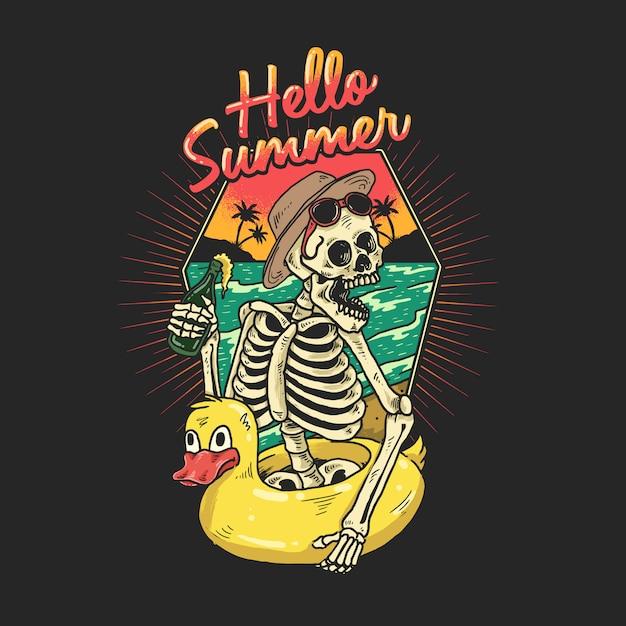 Lo scheletro si sta godendo una vacanza su una spiaggia tropicale Vettore Premium