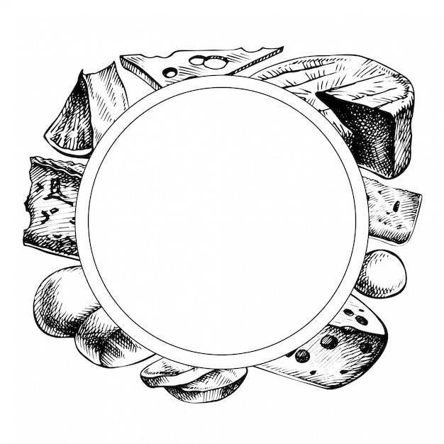 Cornice di formaggio schizzo. illustrazione disegnata a mano dell'inchiostro dei tipi di formaggio. isolato su bianco Vettore Premium