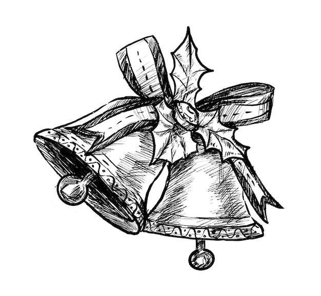 Schizzo di tiraggio della mano di campane di natale Vettore Premium
