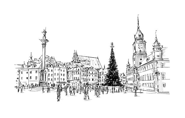 Schizzo della città natale varsavia polonia mano disegnare Vettore Premium