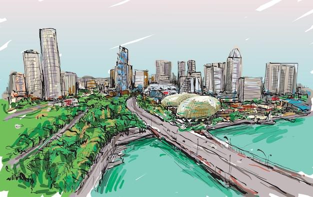 Schizzo della città sullo skyline di singapore, illustrazione di tiraggio della mano libera Vettore Premium