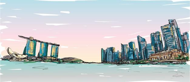 Schizzo lo scape della città dell'orizzonte di singapore con la baia di marina e il paesaggio dell'edificio, illustrazione di tiraggio della mano libera Vettore Premium