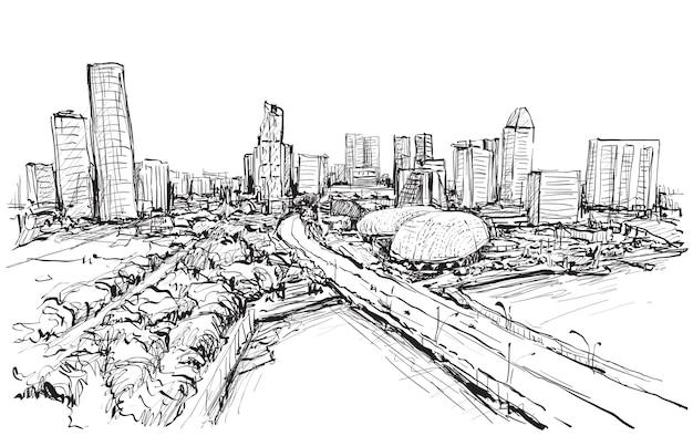 Schizzo paesaggio urbano della skyline di singapore Vettore Premium