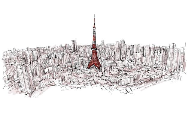Schizzo della città scape tokyo tower Vettore Premium