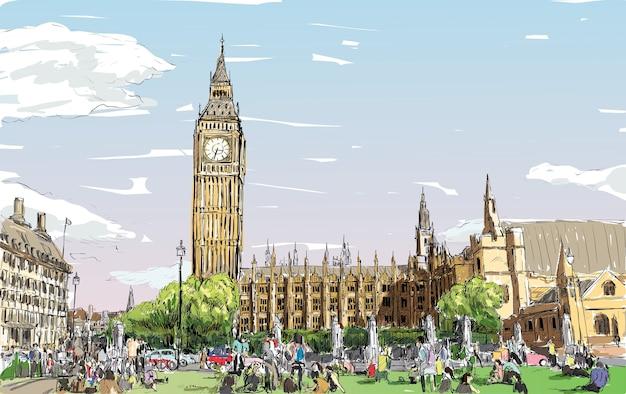 Schizzo cityscape di londra il big ben e le camere del parlamento con i popoli allo spazio pubblico, illustrazione Vettore Premium
