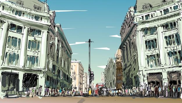 Schizzo il paesaggio urbano di londra, inghilterra, mostra la gente a piedi la strada e il centro commerciale, illustrazione Vettore Premium