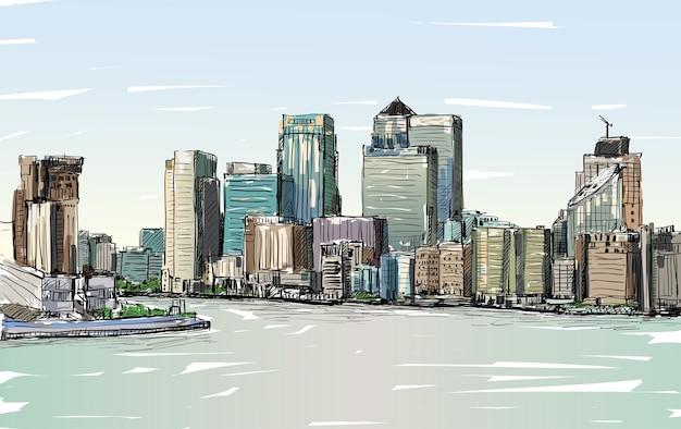 Schizzo il paesaggio urbano di londra, inghilterra, mostra lo skyline e gli edifici lungo il fiume tamigi, illustrazione Vettore Premium