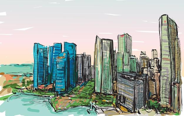 Schizzo il paesaggio urbano dell'orizzonte della costruzione di singapore, illustrazione di tiraggio della mano libera Vettore Premium