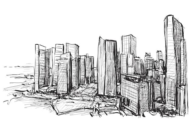 Schizzo paesaggio urbano dell'orizzonte della costruzione di singapore Vettore Premium