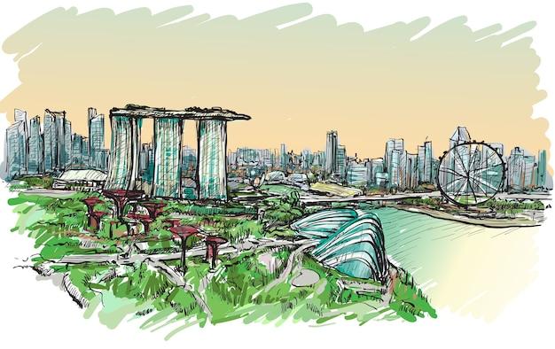 Schizzo il paesaggio urbano dell'orizzonte di singapore, illustrazione di tiraggio della mano libera Vettore Premium