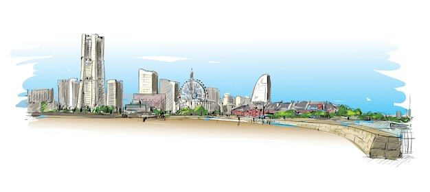 Schizzo del paesaggio urbano a yokoha, giappone, mostra la costruzione lungo la costa della baia illustrazione Vettore Premium