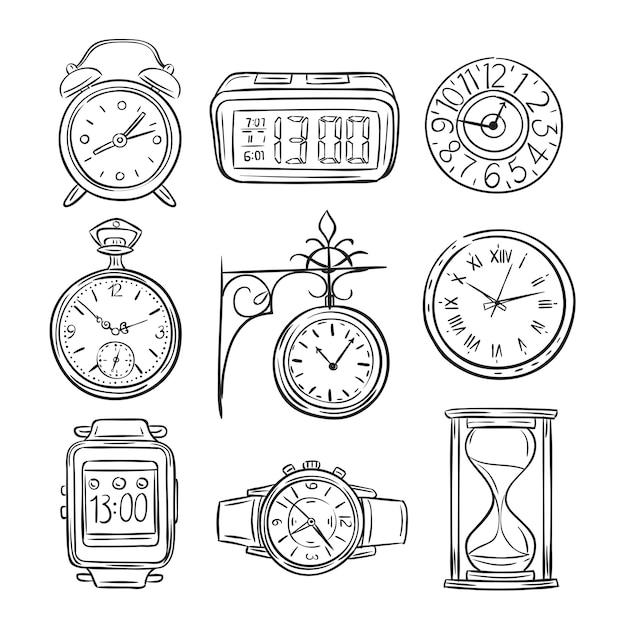 Orologio schizzo. doodle orologio, sveglia e timer, clessidra dell'orologio della sabbia. icone isolate annata di vettore disegnato a mano di tempo Vettore Premium