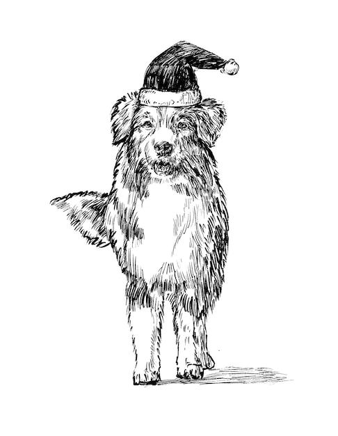 Schizzo del cane di tiraggio della mano di natale Vettore Premium