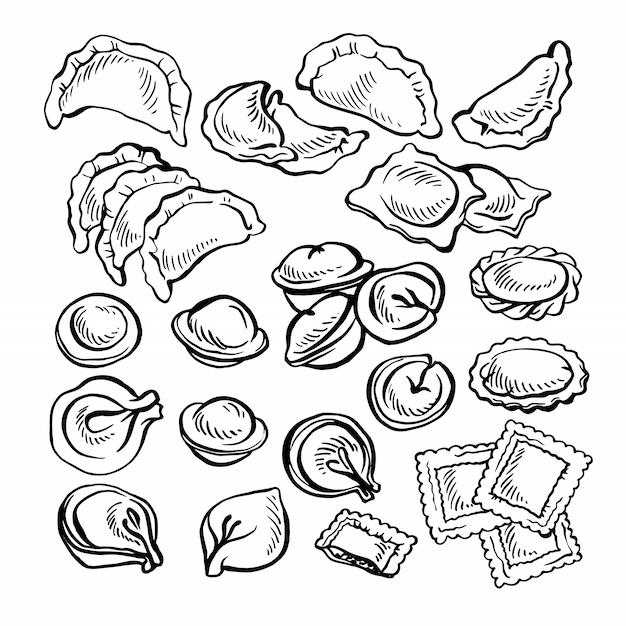Schizzo disegnato a mano vareniki. pelmeni. gnocchi di carne. cibo. cucinando. piatti nazionali. prodotti dall'impasto e dalla carne. Vettore Premium