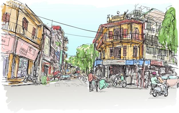 Schizzo del mercato di strada della città di hanoi e del vecchio edificio Vettore Premium